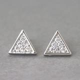 Swarovski Triangle Stud Earrings White Gold