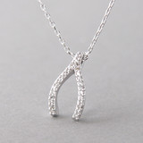 Swarovski White Gold Wishbone Necklace Sterling Silver FROM KELLINSILVER.COM