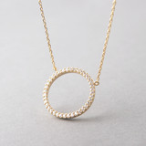 Swarovski Yellow Gold Outline Circle Necklace Sterling Silver FROM KELLINSILVER.COM