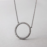 Swarovski Black Outline Circle Necklace Sterling Silver