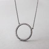 Swarovski Black Outline Circle Necklace Sterling Silver