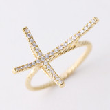 Delicate 3D Curved Sideways Cross Ring Gold