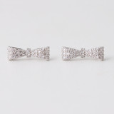 Sterling Silver Pave Bow Stud Earrings