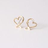 Gold Love Heart Studs Earrings from kellinsilver.com
