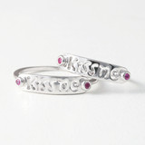 White Gold Kiss Me Midi Ring Set of 2 from kellinsilver.com
