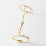 Bezel Two Finger Chain Ring Gold from kellinsilver.com