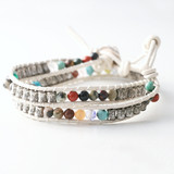 Stamp and Gemstone Beaded Cream Leather Wrap Bracelet from kellinsilver.com