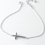 Black CZ Sterling Silver Sideways Cross Bracelet White Gold from kellinsilver.com