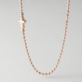Cutting Ball Chain Rose Gold Sideways Cross Necklace Sterling Silver from kellinsilver.com