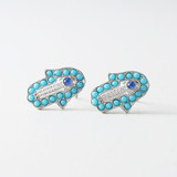 Turquoise Hamsa Evil Eye Stud Earrings from kellinsilver.com