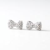 CZ 3D Filligree Bow Stud Earrings White Gold