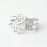 Pave Square Round Heart Stacking Ring Set White Gold from kellinsilver.com