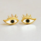 Eyelashes Evil Eye Studs Earring from kellinsilver.com