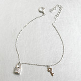 CZ White Gold Key and Lock Charms Bracelet Sterling Silver from kellinsilver.com