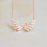 Pave Rose Gold Double Angel Wing Necklace Sterling Silver from kellinsilver.com