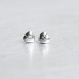 Sterling Silver Tiny Heart Volume Stud Earrings from kellinsilver.com
