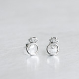 Oxidized Silver Tiny Diamond Ring Stud Earrings from kellinsilver.com