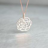 Rose Gold Rose Charm Necklace Sterling Silver from kellinsilver.com