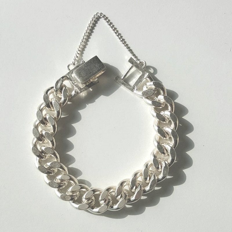 Chunky 10MM Curb Chain Bracelet Sterling Silver from kellinsilver.com
