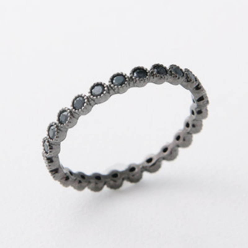Black Spinel Eternity Band Ring Sterling Silver from kellinsilver.com