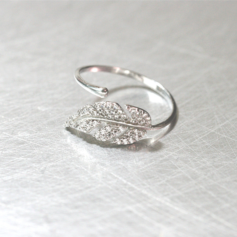 White Gold CZ Olive Leaf Bypass Ring Sterling Silver from kellinsilver.com