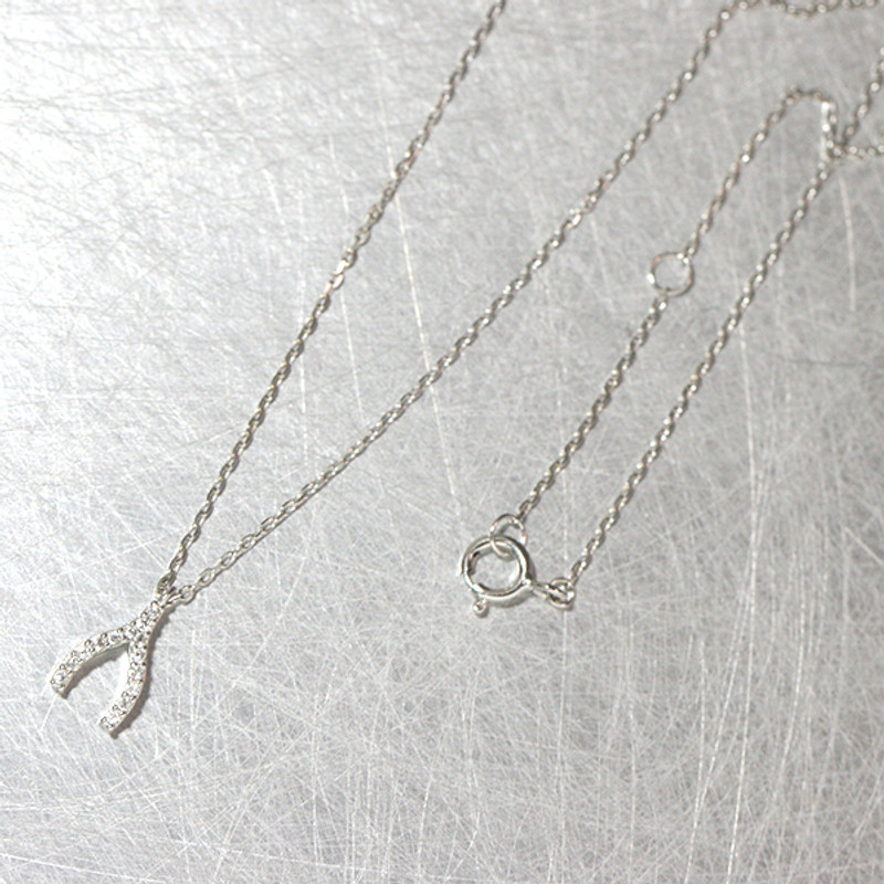 Very Tiny Swarovski Wishbone Charm Necklace Sterling Silver from kellinsilver.com