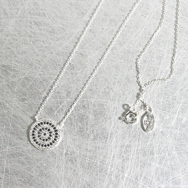 White Gold CZ Evil Eye Disc Necklace Sterling Silver from kellinsilver.com