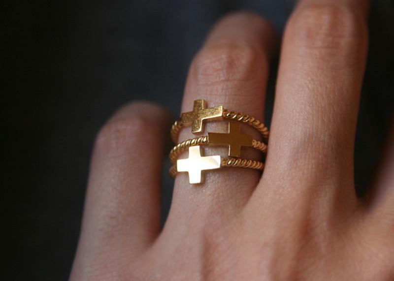 Gold Sideways Cross Rings Sterling Silver from kellinsilver.com