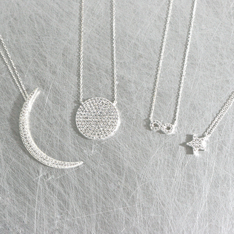 Swarovski White Gold Crescent Moon Long Necklace Sterling Silver from kellinsilver.com