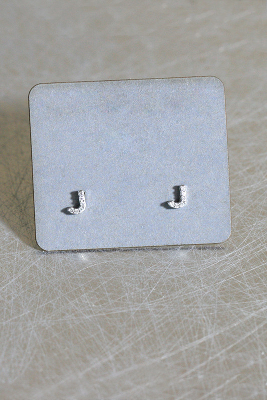 CZ Very Small Alphabet Stud Earrings Sterling Silver from kellinsilver.com