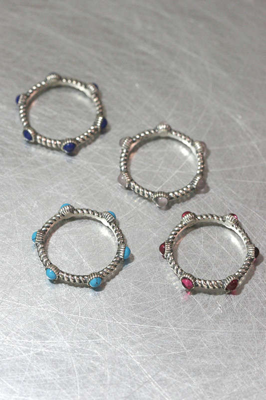 Gemstone Stackable Eternity Oxidized Sterling Silver Ring from kellinsilver.com