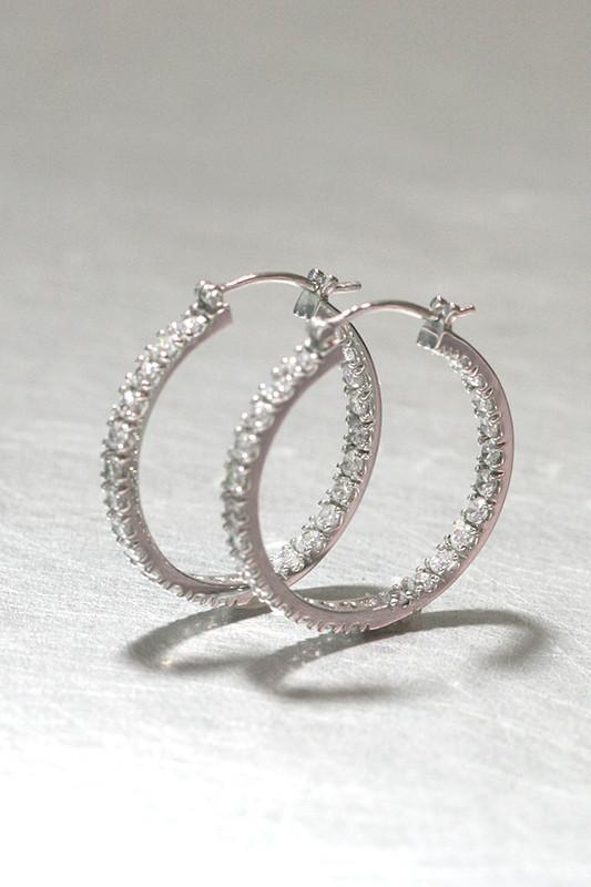 CZ 30mm Metro Hoop Earrings Sterling Silver from kellinsilver.com