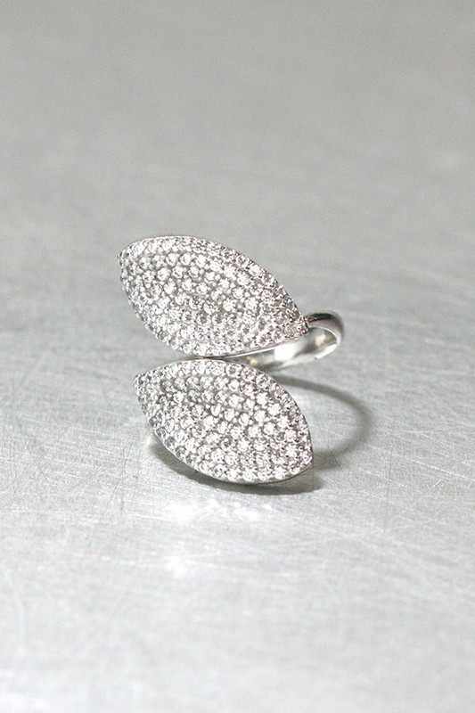 CZ Pave Fine Leaf Ring Cuff Sterling Silver from kellinsilver.com