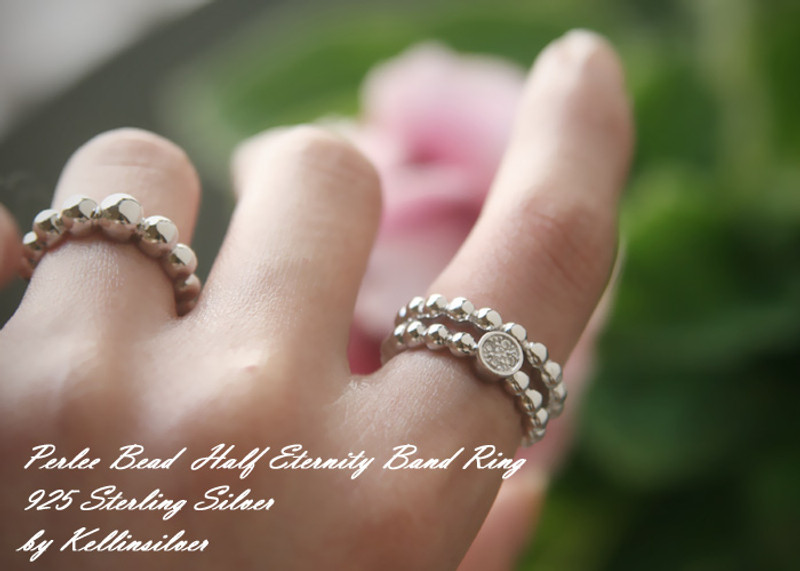 White Gold Perlee Half Eternity Ring Sterling Silver from kellinsilver.com
