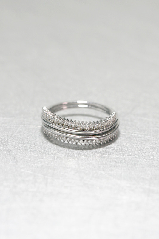 CZ White Gold Wave Tiara Ring Set of 2 Sterling Silver from kellinsilver.com