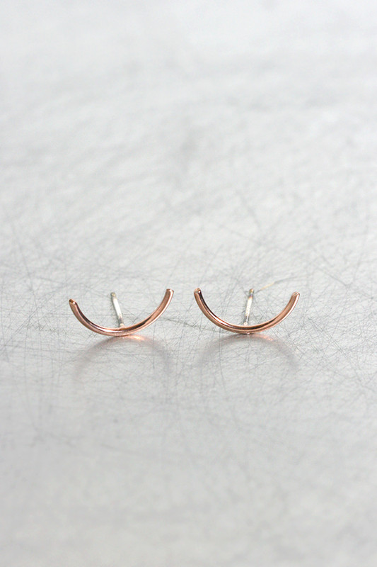 Sterling Silver Tiny Curve Earrings Rose Gold from kellinsilver.com