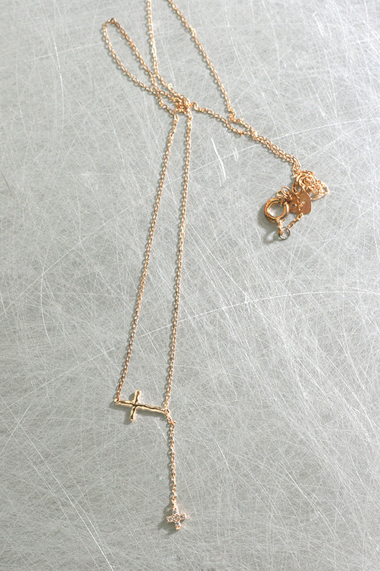 Rose Gold Hammered CZ Cross Necklace Sterling Silver from kellinsilver.com