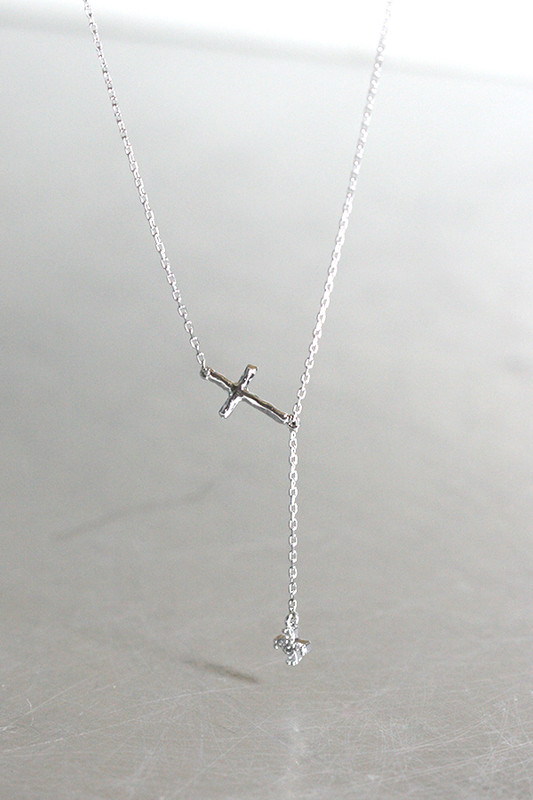 White Gold Hammered CZ Cross Necklace Sterling Silver