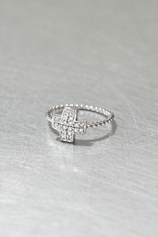 CZ Cross Ring Sterling Silver from kellinsilver.com