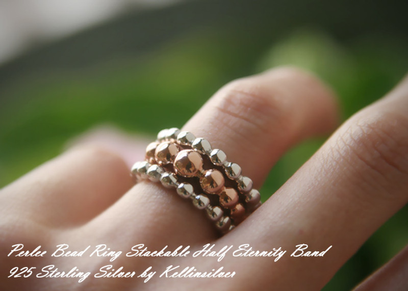 Rose Gold Perlee Half Eternity Ring Sterling Silver from kellinsilver.com