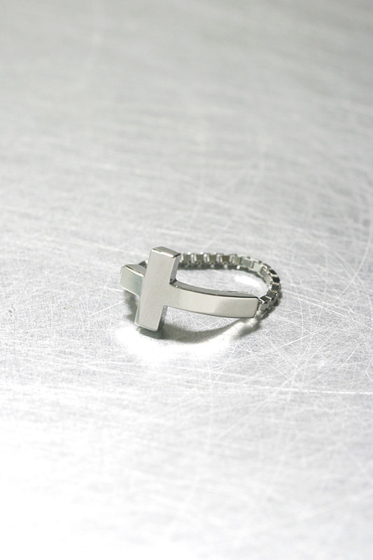 White Gold Sideways Cross Ring Sterling Silver on kellinsilver.com