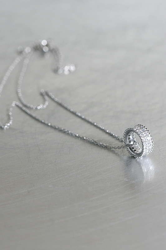 Milgrain Pave Tube Wedding Necklace Sterling Silver from kellinsilver.com