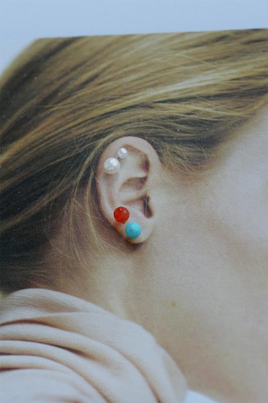 14k Rode Gold Gemstone Ball Piercing Earrings from kellinsilver.com