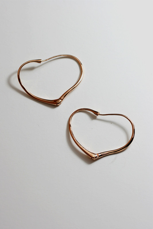 Rose Gold Valentine Heart Earrings Sterling Silver on kellinsilver.com