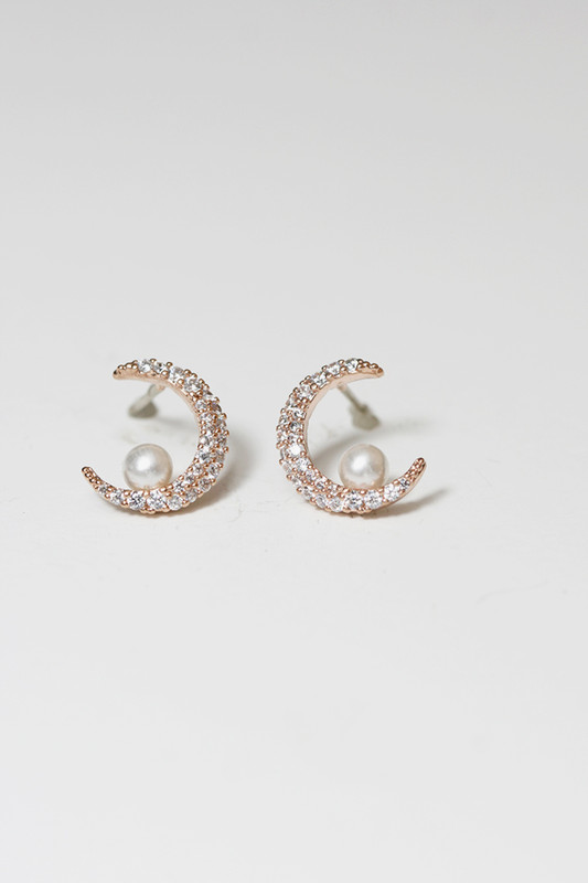 Rose Gold Crescent Moon and Pearl Stud Earrings on kellinsilver.com