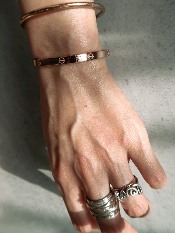 Rose Gold Love Bangle Bracelet Sterling Silver from kellinsilver.com
