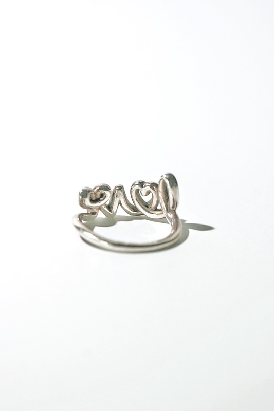 Sterling Silver Love Script Ring on kellinsilver.com