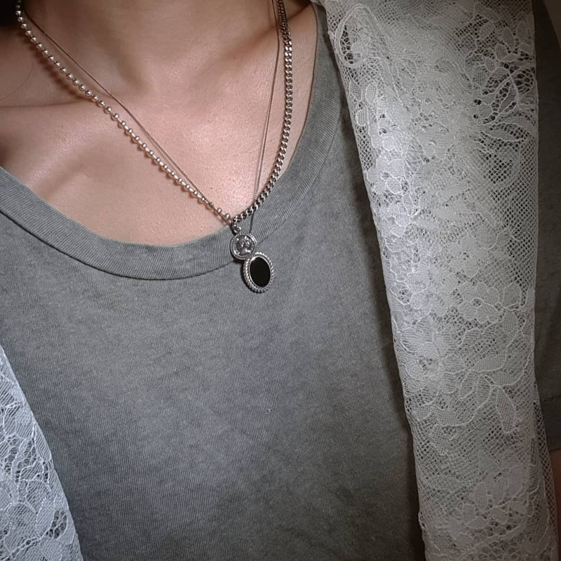 Oxidized Elizabeth Coin Ball Chain Necklace Sterlling Silver