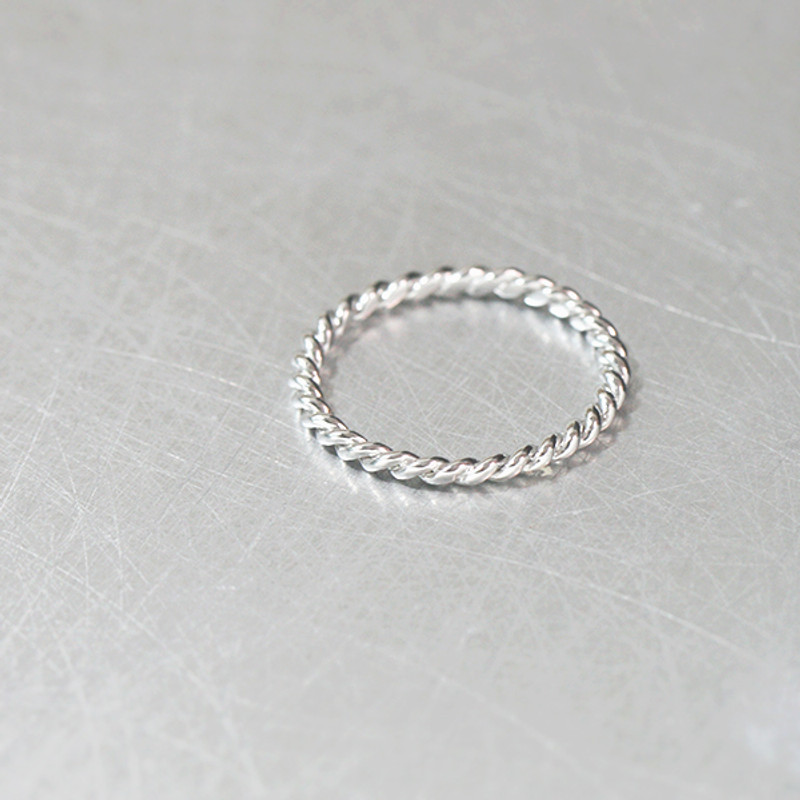 Sterling Silver Twisted Stack Ring White Gold from kellinsilver.com