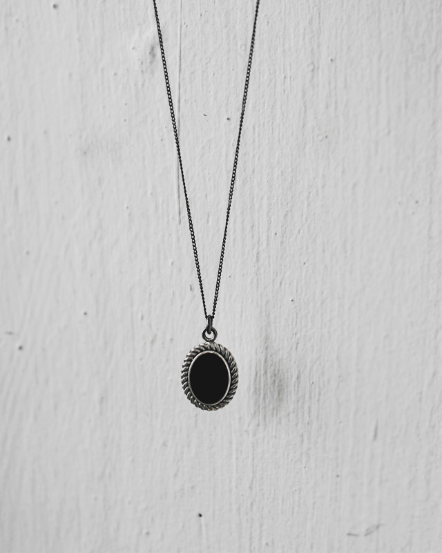 Oxidized Onyx Oval Necklace Sterling Silver from kellinsilver.com